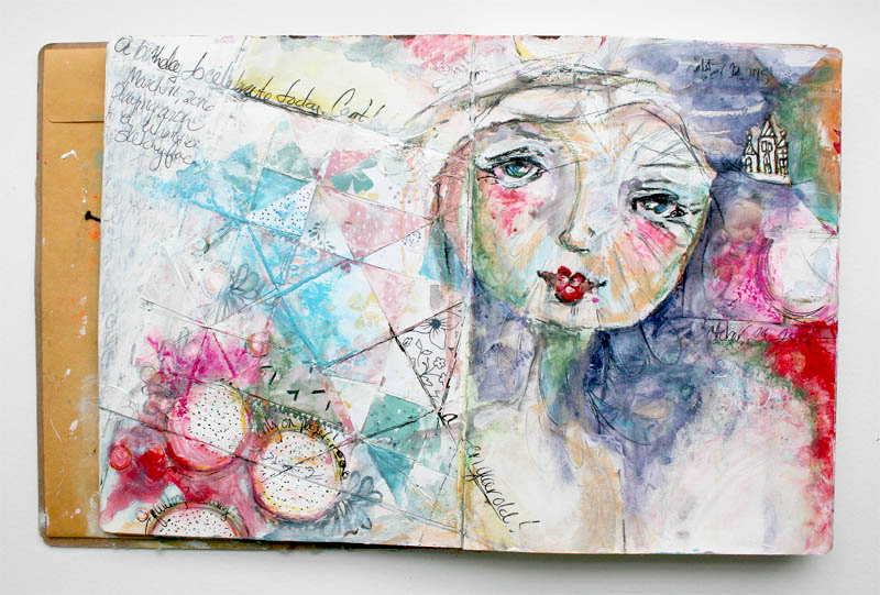Art Journal Spread - Quilting