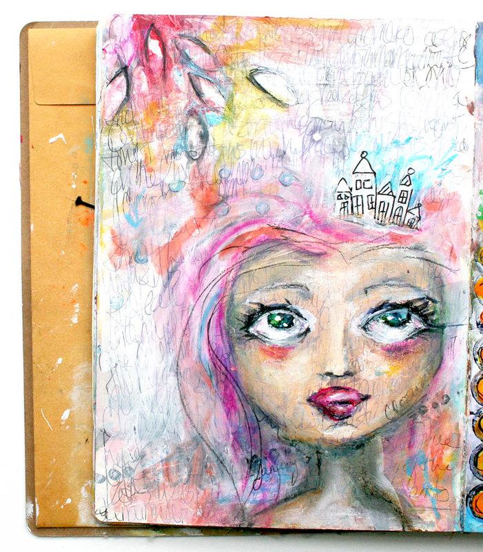 Art Journal Spread - Pink