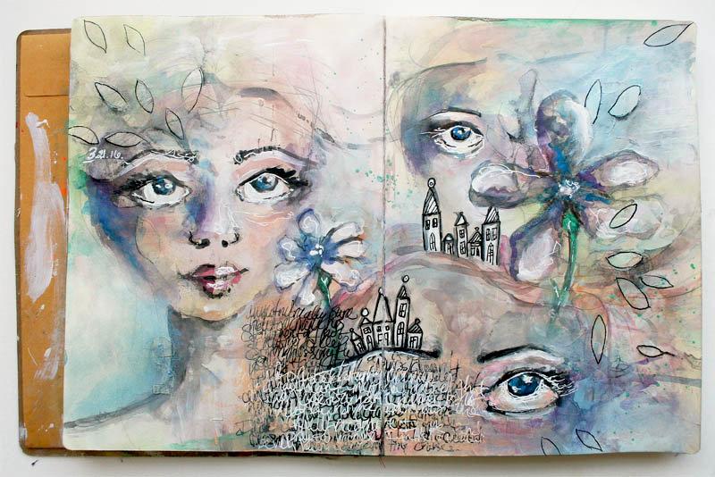Art Journal Spread - City Girl
