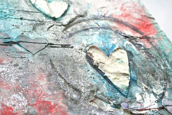 Mixed Media Textured Heart Painting Collage