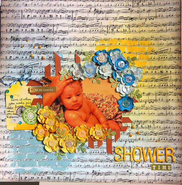 Shower Time - Scrapbook layout