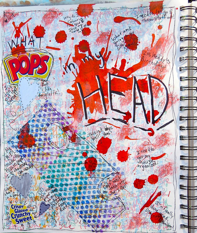 What Pops In My Head Art Journal Page With Sharpie Ghosting