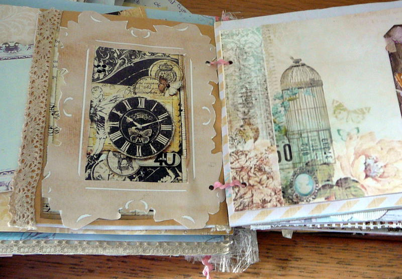 big photomat,with clock,and the other page a birdcage,in my big mini-book