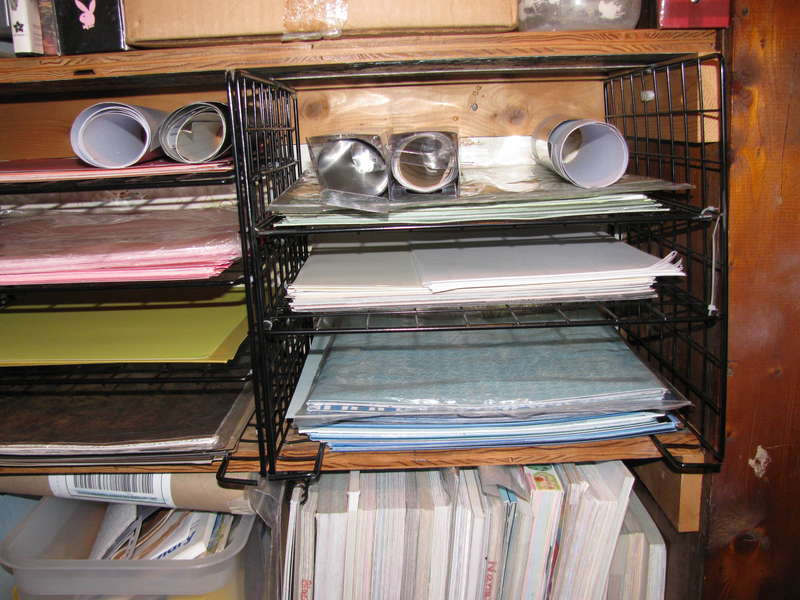 Home made paper shelves