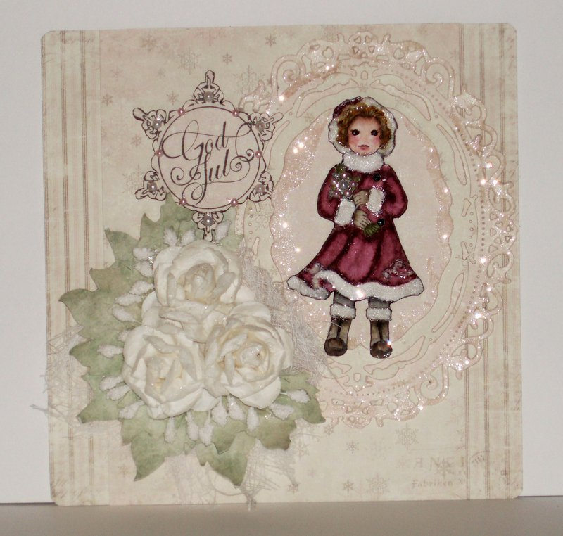 Christmas card in pale pink