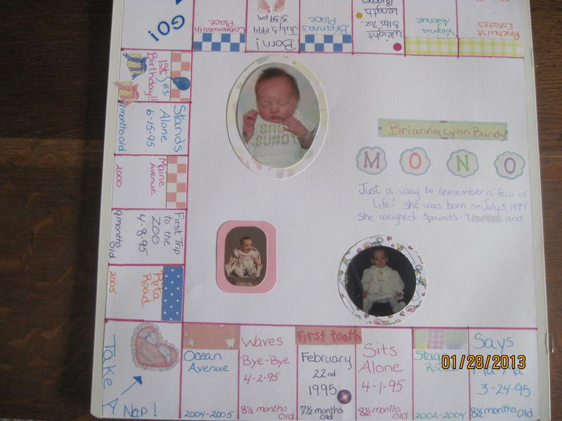 A Monopoly of baby's First Year  Pg1 of a 2pg 12x12  layout
