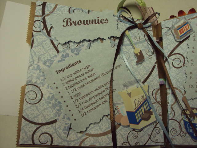 Paper Bag Recipe Book - open Brownie Left Page
