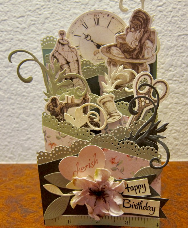 Cascading Card - Seamstress Birthday