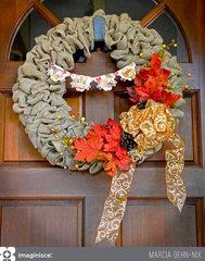 Autumn Blessings Burlap Wreath