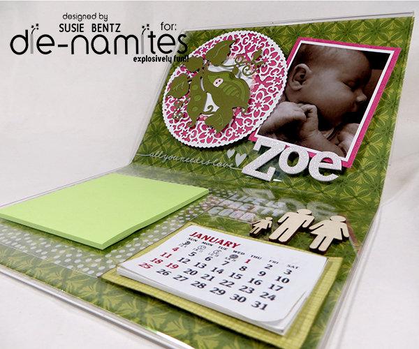 Photo Frame Desk Calendar  *Die-Namites Dies*