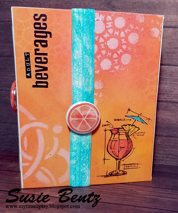 Adult Beverages Mini Album Wrapped Journal - Cover