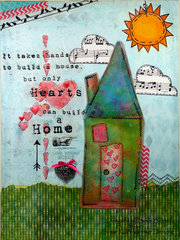Hearts Can Build A Home  Mixed Media Canvas