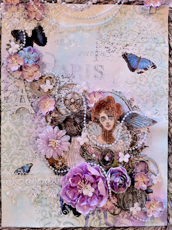 """Paris"" **CT work Flying Unicorn Mixed Media Muse July**"