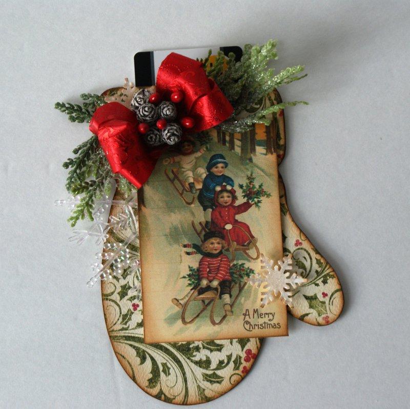 Christmas Mitten Gift Card Holder 2