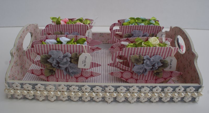 Altered Tray Embellishment Center w/ 3D Tea Cups