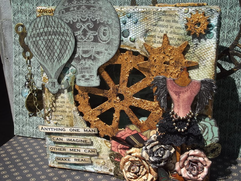 Jules Verne/Steampunk Mixed Media Canvas