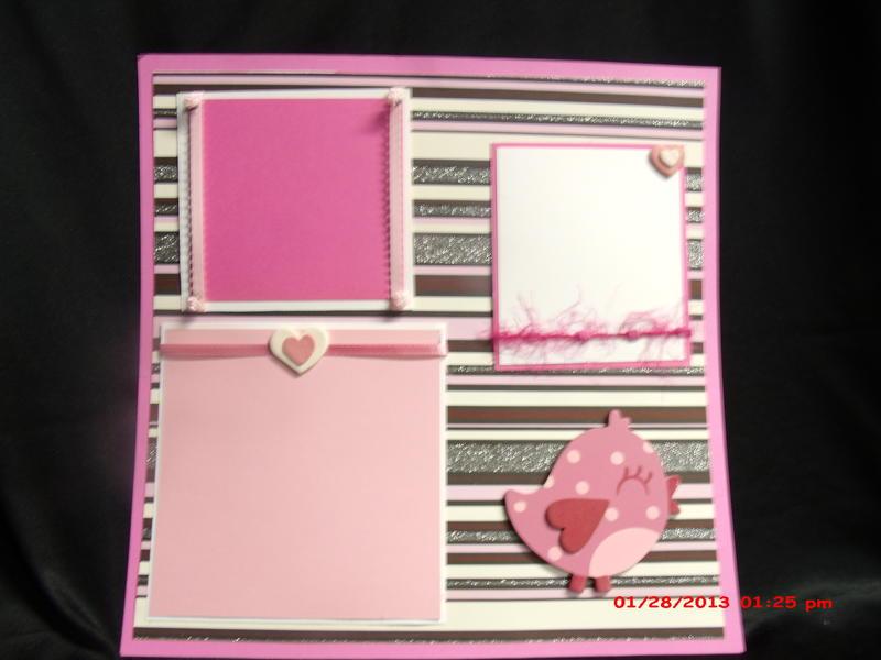 Pink heart bird love 12x12 layout