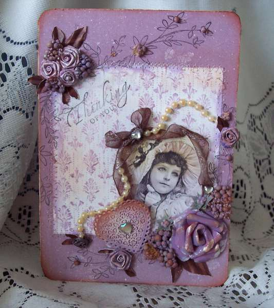 Little Vintage Girl**Thinking of You Card