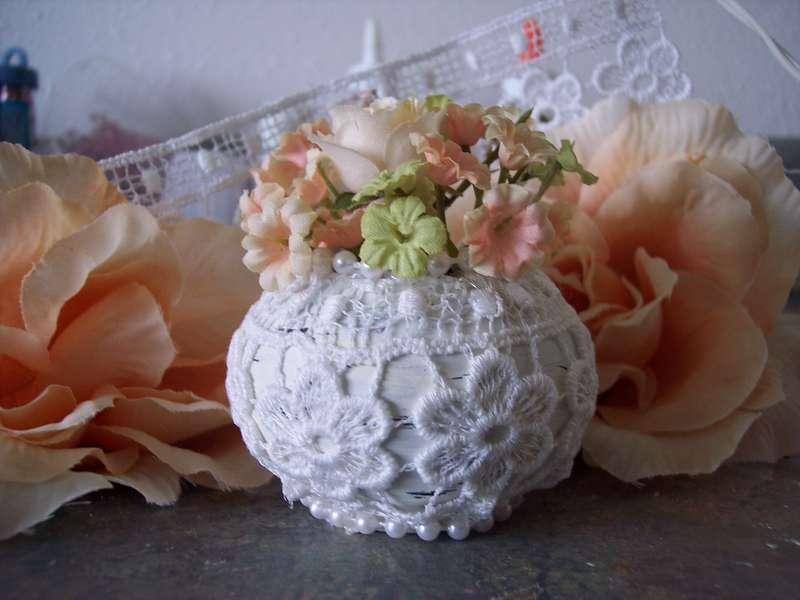 Shabby Chic**Altered Mini Pottery Vase