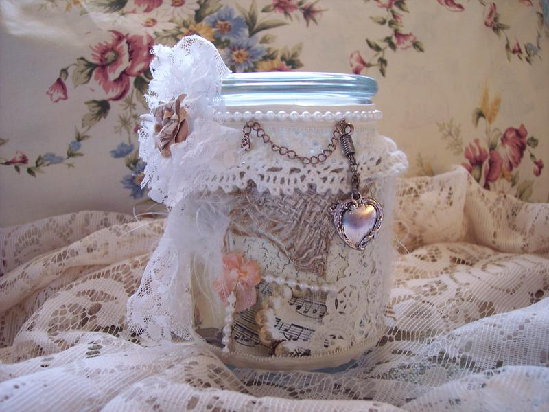 Shabby Chic**Altered Jar**Front View