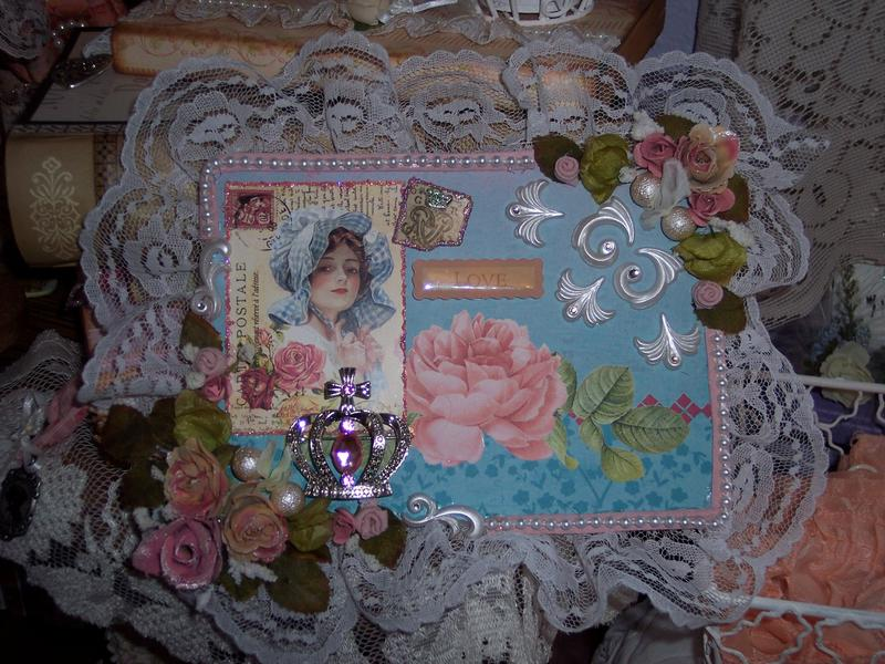 Victorian Chic Love**Altered Canvas Plaque
