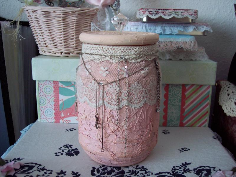 Shabby Chic**Altered Candle Jar