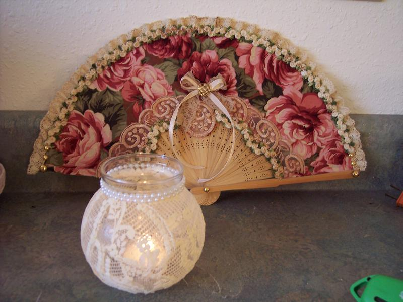 Shabby Victorian Chic**Altered Candle Jar and Fan