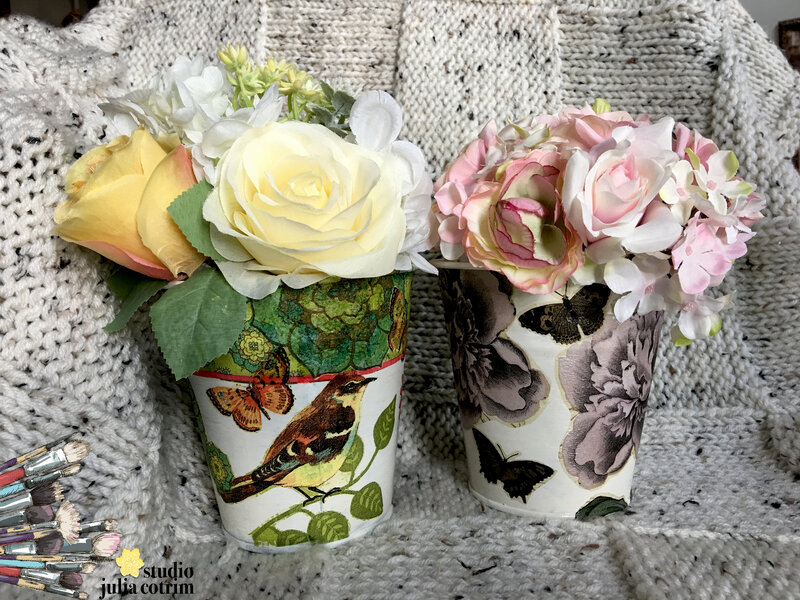 {decoupage on plant pot holders}