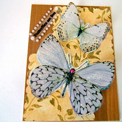 BUTTERFLIES ARE FREE art trading card aceo mixed media