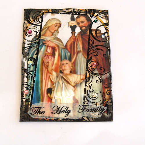 Holy family art card aceo mixed media collage