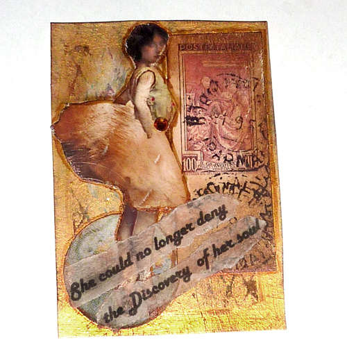 Parisian woman mixed media art card
