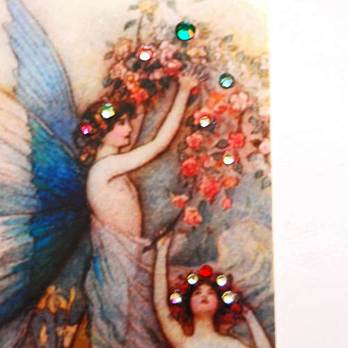 blue fairies in a garden Swarovski crystals art card