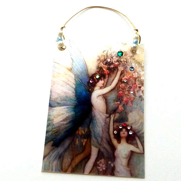 hanging art card blue flower faires