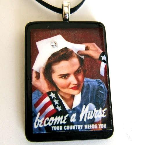 World War 2 Nurse Poster pendant necklace