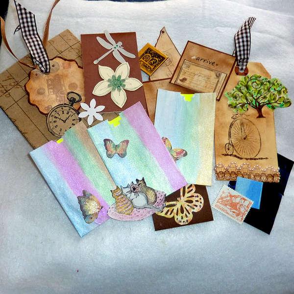 handmade hand painted envelps tags ephemera