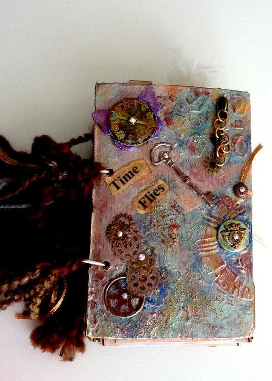 Time flies mixed media art journal