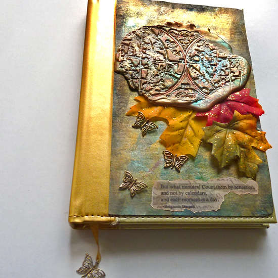 art travel journal mixed media collage Leaves