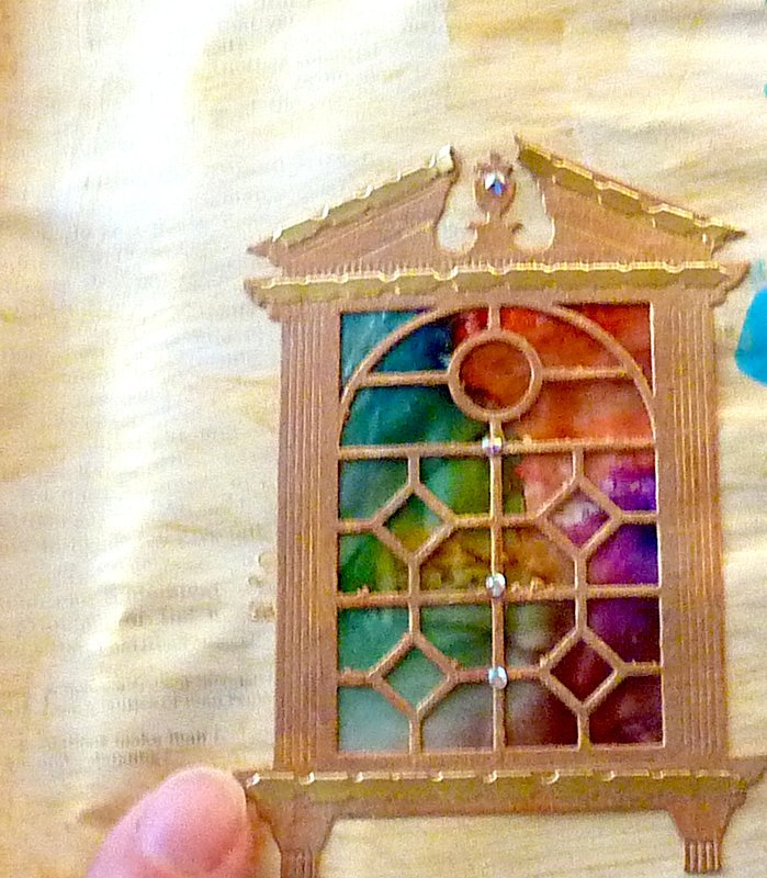 Stained glass window embellishment made with spellbinders die cut