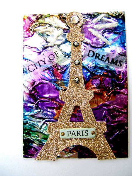 City of Dreams Paris atc aceo mixed media card
