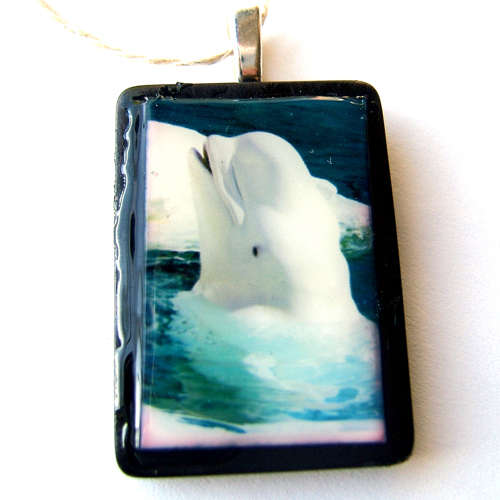 WHITE BELUGA WHALE pendant necklace