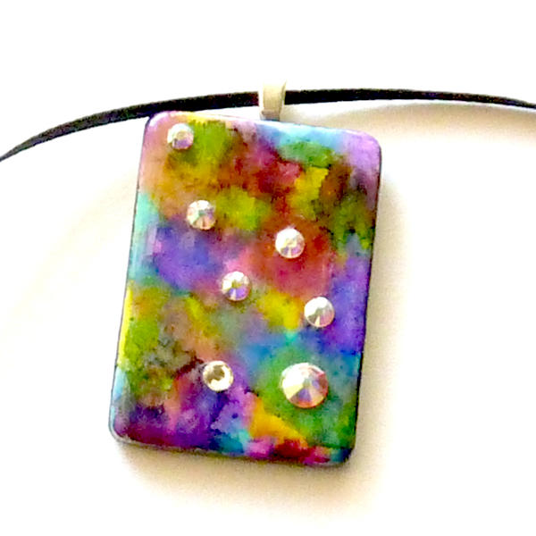 rainbow recycled game tile pendant