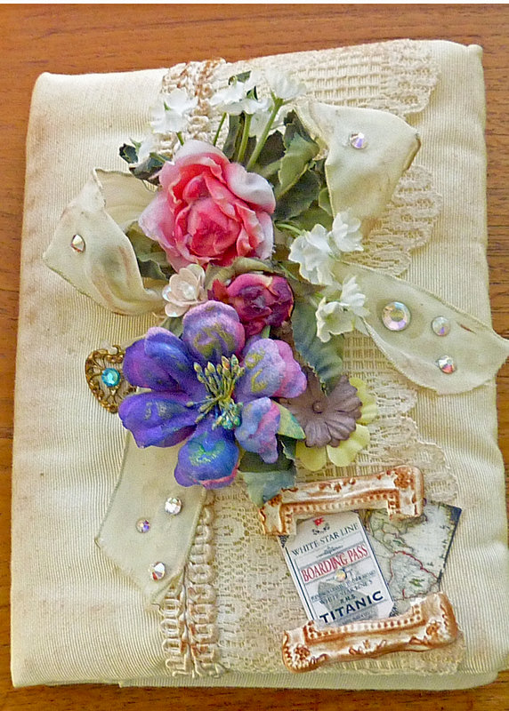Journal Removable lace Cover Titanic Rose Vintage Shabby Chic