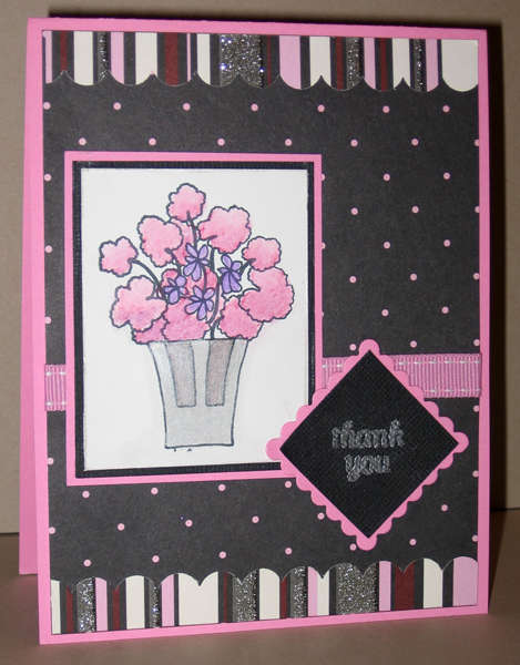 MFT Geranium pink and black TY card