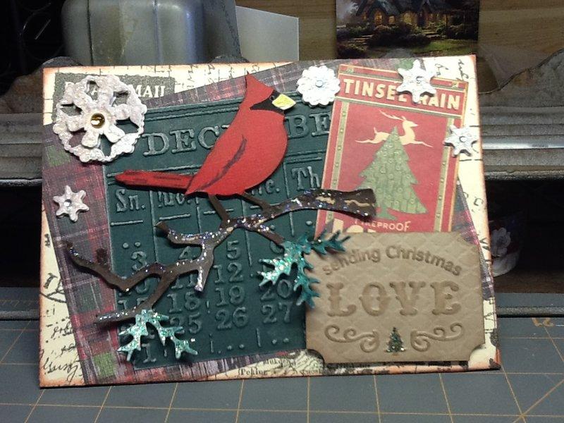 Christmas Cardinal Easel card