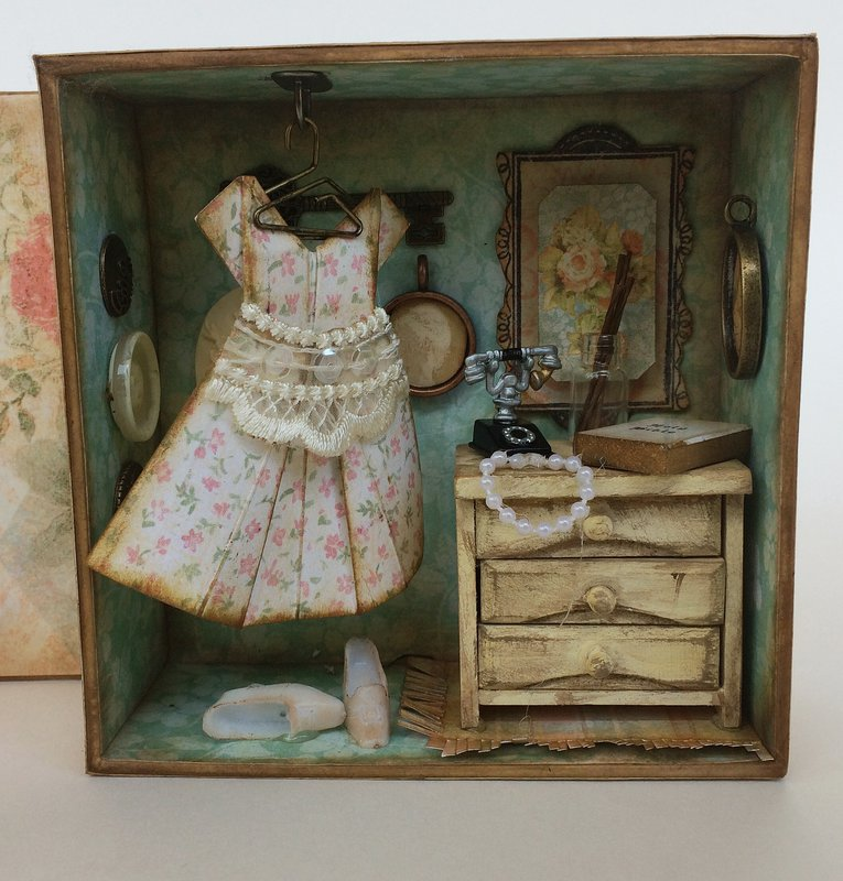 """Graphic 45 Miniature Altered Mixed Media Box featuring """"Baby to Bride"""""""