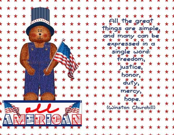 4th of July card front/inside