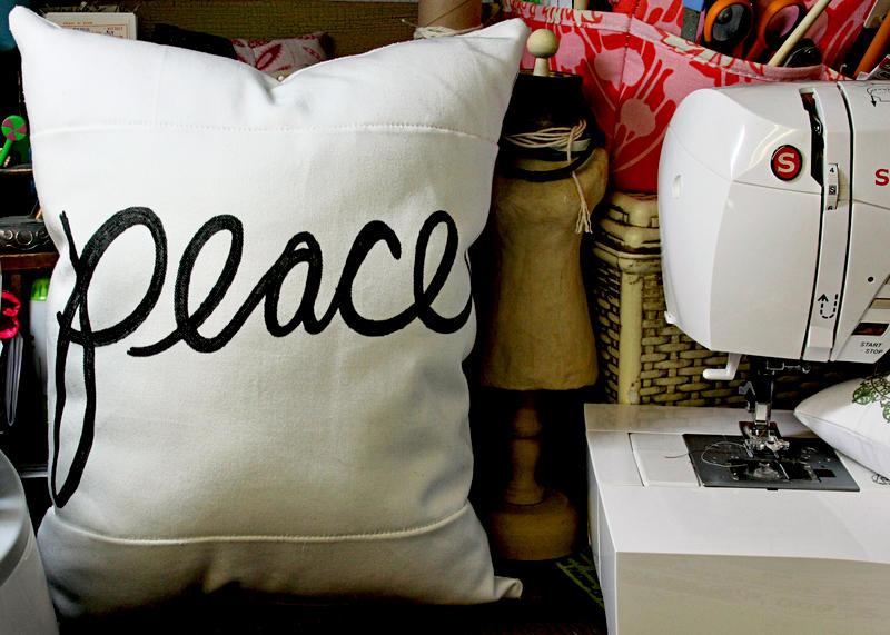 Peace Pillow (Silhouette Portrait Sketch)