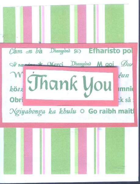 Thank You Card-Pink and Green