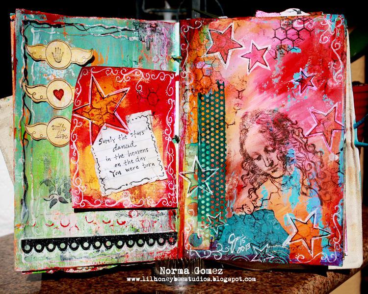 Dancing Stars - Art Journal Page