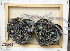 Mixed Media Heart Shaped Boxes